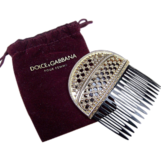 Dolce and Gabbana Signed Hair Comb Hair Accessory with Gift Pouch