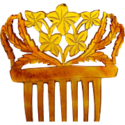Victorian Spanish Style Hair Comb Carved Steer Horn Hair Accessory