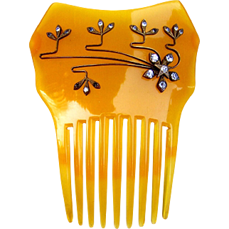 Amber celluloid rhinestone hair comb Spanish mantilla style hair accessory