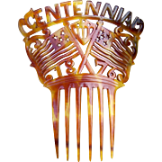American Steer Horn Comb 1876 Philadelphia Exposition Commemorative Hair Accessory
