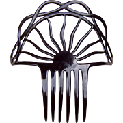 Black Celluloid Art Deco Hair Comb Spanish Style Hair Accessory