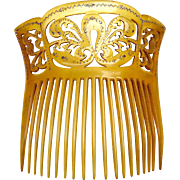 Late Victorian Amber Celluloid Hair Comb with Gold Pique Hair Accessory