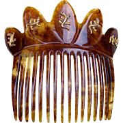 Victorian Faux Tortoiseshell Hair Comb with Lizard Motif Hair Accessory