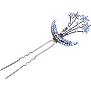 Victorian Rhinestone Aigrette Hair Comb Crescent Moon and Star hair Accessory