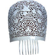 Oversized Vintage Spanish Mantilla Comb White Celluloid Hair Accessory