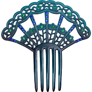 Art Deco Blue Green Celluloid Hair Comb Spanish Style Hair Accessory