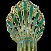 Oversized Art Deco Hair Comb Green Celluloid Spanish Mantilla Hair Accessory