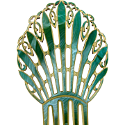 Oversized Art Deco Hair Comb Green Celluloid Spanish Mantilla Hair Accessory