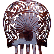 Oversized Celluloid Faux Tortoiseshell Art Deco Spanish Mantilla Comb Hair Accessory