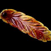 Victorian Hinged Long Hair Comb Leaf Shape Steer Horn Hair Accessory
