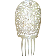 Oversized French Ivory Art Deco Spanish Mantilla Comb Hair Accessory