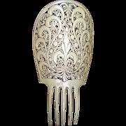 Oversized French Ivory Art Deco Spanish Mantilla Comb Hair Accessory