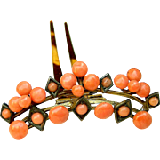 Victorian Coral Beads Hair Comb Hinged Hair Accessory