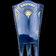 Dark Blue Celluloid Hair Comb Art Deco Spanish Style Hair Accessory