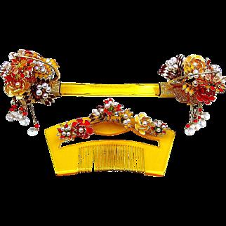 Japanese Geisha Comb Hairpin Set Bridal Hair Accessory Kanzashi Headdress