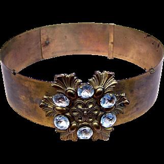 Exotic Tiara Headdress Gilded Metal Crown Theatrical Hair Accessory Headpiece