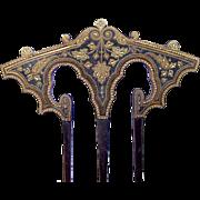 Antique Damascene Hair Comb Moorish Algerian Style Hair Accessory