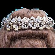 Late Victorian brass floral tiara wedding headdress hair accessory