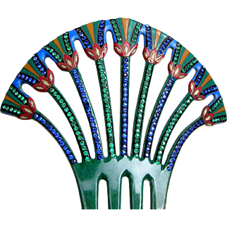 Egyptian Revival hair comb, multi rhinestone papyrus design hair accessory
