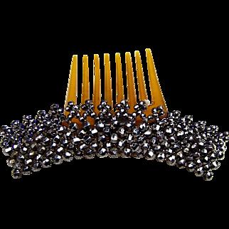 Victorian cut steel tiara hair comb, hair accessory