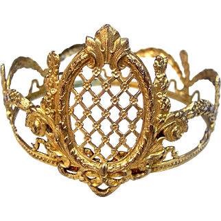 Gilded metal crown for Santos or cage doll hair accessory headdress