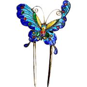 Art Nouveau hair comb cloisonné enamel figural butterfly hairpin hair accessory,