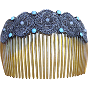 Late Victorian hair comb, faux turquoise cabochons hair accessory