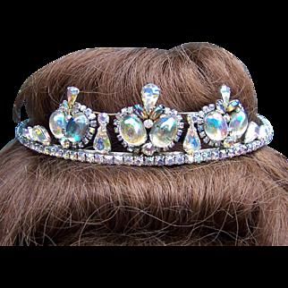 Aurora Borealis rhinestone tiara mid century hair accessory bridal headdress