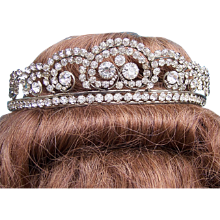 Rhinestone Hollywood Regency tiara, mid century hair accessory