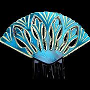 Art Deco blue Egyptian Revival style hair comb Spanish hair accessory