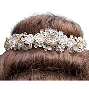 Late Victorian silver tone metal filigree floral tiara hair accessory