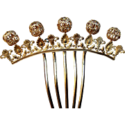 Victorian gilt filigree hair comb hair accessory with decorative balls