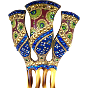Art Deco Egyptian Revival hair comb, enamel multi rhinestone hair accessory