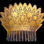 Regency hair comb carved pieced steer horn Spanish style hair accessory