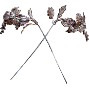 2 Gilt metal filigree trembler floral hair pins or hat pins