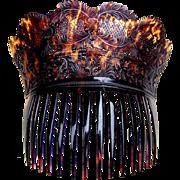Georgian tortoiseshell hair comb carved and pierced Spanish style hair accessory