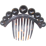 Victorian faux tortoiseshell hair comb with decorative balls hair accessory