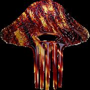 Oversized Art Deco hair comb faux tortoiseshell hair accessory