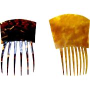 Two antique hair combs Spanish style horn faux tortoiseshell hair accessories