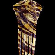 Faux tortoiseshell hair comb Art Nouveau interlaced hair accessory