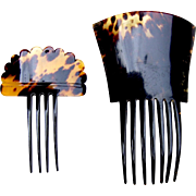 Two hair combs imitation tortoiseshell Spanish style hair accessories