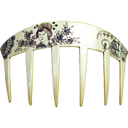 Auguste Bonaz signed hair comb, Art Deco French Ivory hair accessory