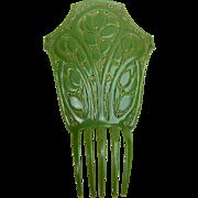 Spanish mantilla comb Art Deco jade green oversized hair accessory