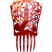 Spanish mantilla comb red brown hair accessory