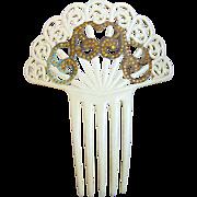 Art Deco hair comb French Ivory golden rhinestone Spanish style hair accessory