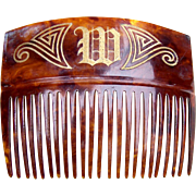 Faux tortoiseshell hair comb with initial M hair accessory