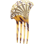 Art Nouveau hair comb faux tortoiseshell with gilding hair accessory