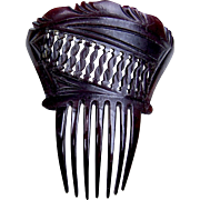 Victorian mourning hair comb black moulded accessory