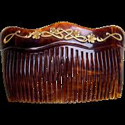 Art Nouveau hair comb celluloid faux tortoiseshell hair accessory