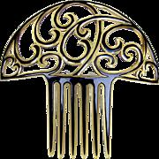 Art Deco style hair comb celluloid overlay hair accessory